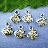 10 x Antique Silver Engraved Fish Charm Pendants